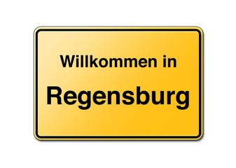 Willkommen in Regensburg Schild