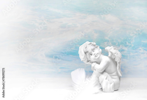 Leinwandbild Motiv Träumender Engel: Glückwunschkarte