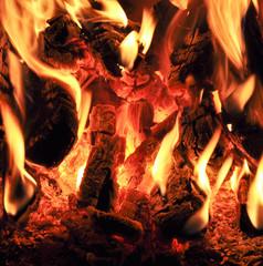 Embers fire, board in flames