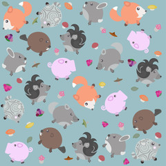 Funny pattern with animals, berries and mushrooms