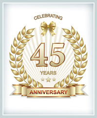 Greeting card with the 45th anniversary