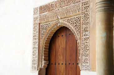 Arab door in the Alhambra palace in Granada, Andalusia