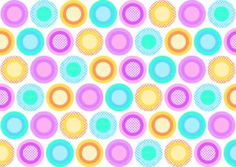 Bunte Kreise mit verschiedene Muster gefüllt versetzt auf weiß
