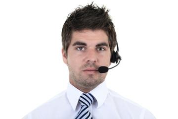 Portrait of handsome male customer service representative