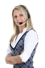 Beautiful blond business woman with headset.