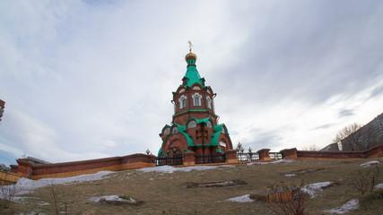 Russian chapel, Church of Great Martyr, Krasnoyarsk, hyperlapse