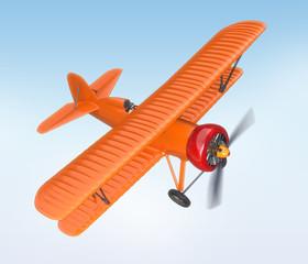 Orange biplane flying in the sky