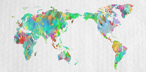 World map with hands in different colors