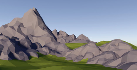 3D lowpoly abstract landscape