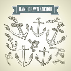 Hand drawn anchor. Set of vector illustrations