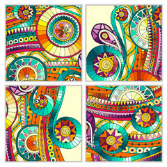 Set of four abstract doodle  vector cards.