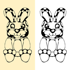 funny rabbit silhouette drawing