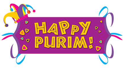 Happy Purim with a Jester Purim hat