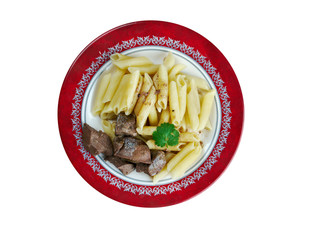 Delicious pasta with pork liver