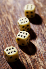 Dice with sixes in a row