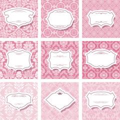 Frame set on seamless patterns in pastel pink.