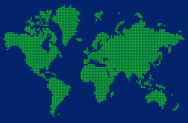 Abstract graphic World map of green round dots.
