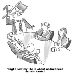 Cartoon of businessman and lack of work life balance.