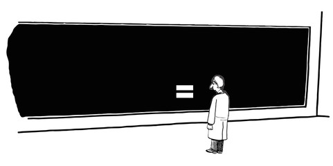 Cartoon of equal sign on blackboard, we are all equal.