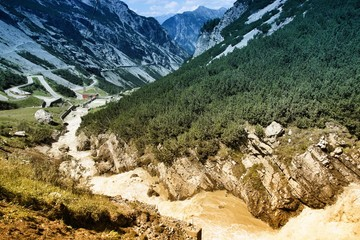 Stelvio National Park, Italy. Filtered color tone.