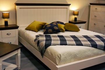 beautiful bed in comfortable bedroom