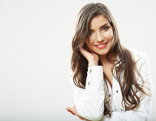 Woman face close up white backround isolated. Smiling girl port