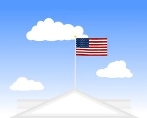 USA, US, American flag - white house