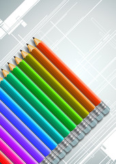 Colorful Pencils Design Background