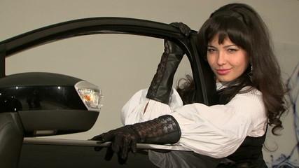 Sexy Pretty Woman Posing At Car Door