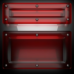 metal background with red glass