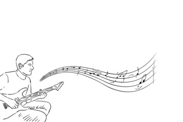Acoustic guitarist sketch silhouette