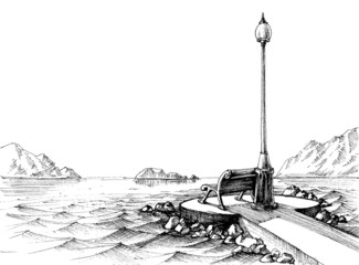 A bench by the sea, seascape sketch