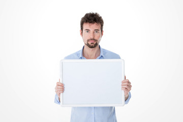 man with goatee holding an empty board