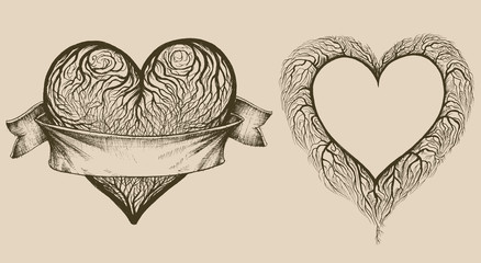 Set of graphic hearts with tree branches and space for text