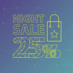 twenty five percent night sale on crystal background