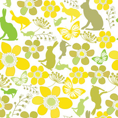 happy easter background with rabbit and flower element vector