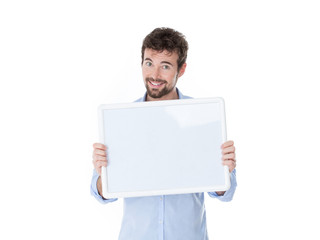 one smiling guy with a white panel in his hands
