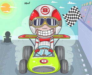 Cartoon car racing Illustration