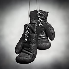 laced boxing gloves