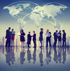 Global Business People Discussion Cityscape Concept