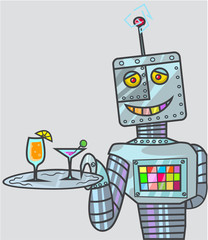 robot offering drinks