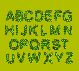 Leaves  Font Green.  letters from the tree's leaves