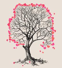 A tree of hearts love symbol