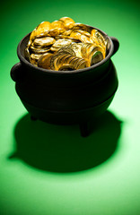 Pot of Gold: Treasure Pot On Green Background