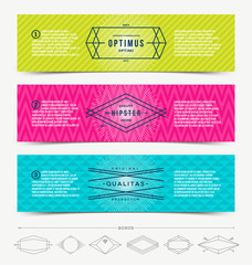 Set of abstract banner template design with hipster emblem