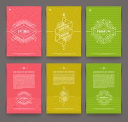 Set of template flyer design with hipster emblem