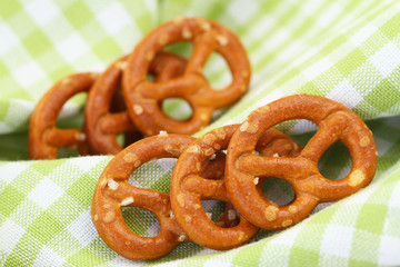 Pretzels on checkered cloth, closeup