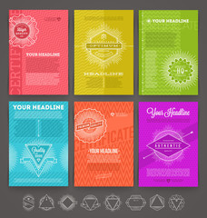 Set of abstract template flyer page design with hipster emblem