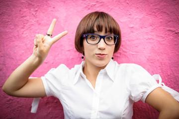 Portrait of successful young schoolgirl