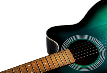 part of the acoustic guitar, black and green color isolated on a